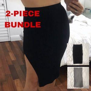 Black Pencil skirt with left side slit.
